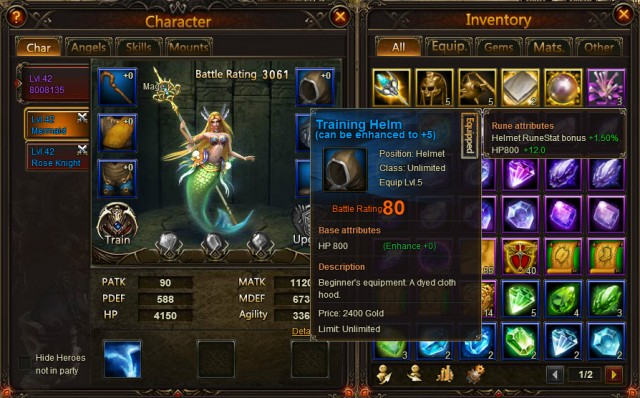League of Angels Equipment system