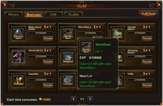 League of Angels Guild Bonuses